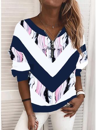 Print Geometric V-Neck Long Sleeves Sweatshirt