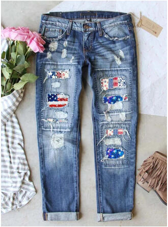Print Ripped Casual Vintage Denim & Jeans