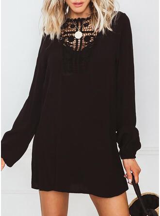 Dentelle/Couleur Unie Manches Longues Droite Au-dessus Du Genou Petites Robes Noires/Décontractée Tunique Robes