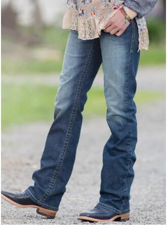 Froncé Grande taille Longue Décontractée Élégante Jeans
