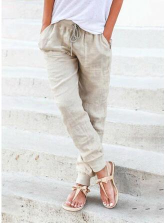Solid Linen Cotton Long Casual Plus Size Pocket Shirred Drawstring Pants Lounge Pants