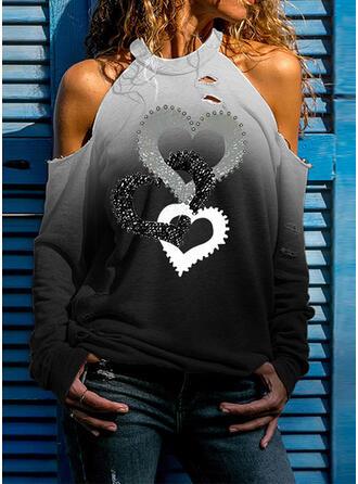 Heart Print Cold Shoulder Long Sleeves T-shirts