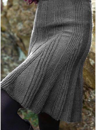 Mélange de coton Couleur unie Au-dessus du genou Jupes trapèze