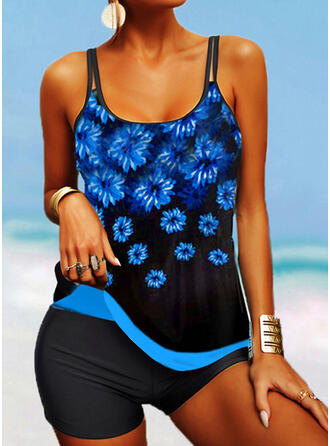 Strap U-Neck Plus Size Boho Tankinis Swimsuits