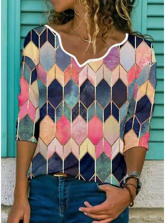 Print Geometric V-Neck 3/4 Sleeves T-shirts