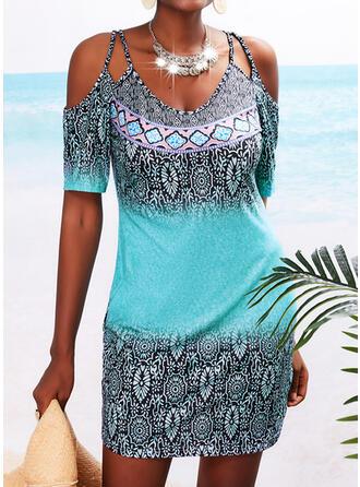 Print Short Sleeves Sheath Above Knee Casual/Boho/Vacation Dresses