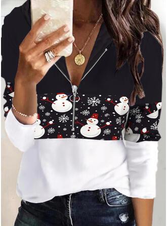 Christmas Print Color Block Long Sleeves Hoodie
