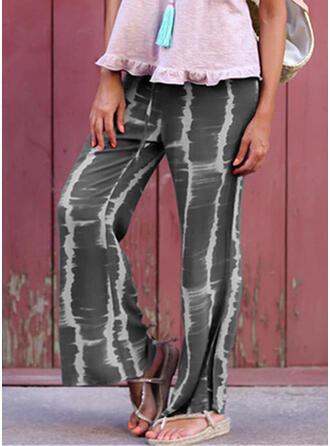 Froncé Tie Dye Longue Décontractée Style Vintage Pantalon