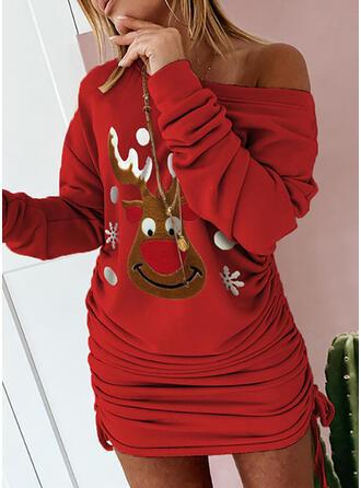 Imprimé Animal Manches Longues Moulante Au-dessus Du Genou Noël/Décontractée Robe Sweat Robes