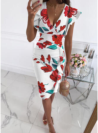 Print/Floral Short Sleeves Small Flying Sleeve Bodycon Knee Length Casual Pencil Dresses