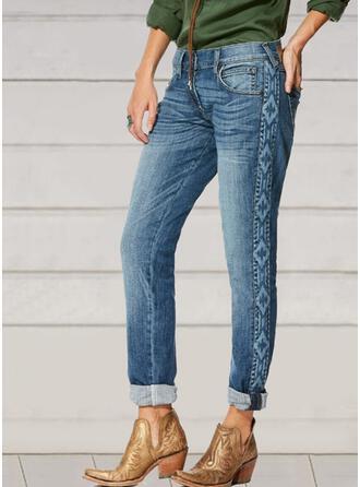 Broderie Froncé Grande taille Élégante Style Vintage Jeans