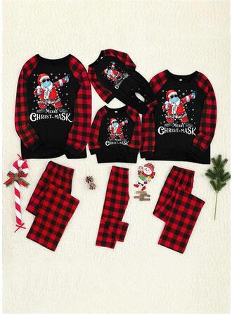 Père Noël Plaid Letter Inmprimé Tenue Familiale Assortie Pyjama De Noël