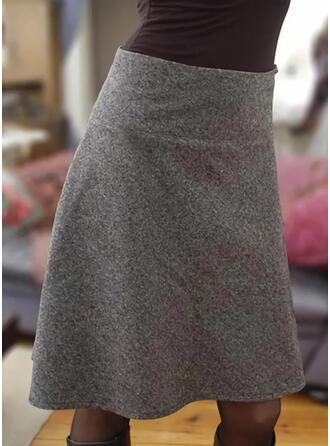 Mélange de coton Couleur unie Au-dessus du genou Jupes Crayon