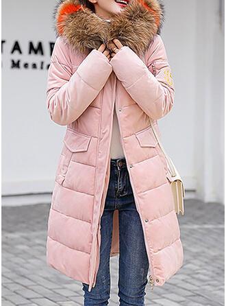 Cotton Long Sleeves Plain Down Coats