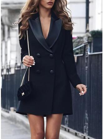 Couleur Unie Manches Longues Fourreau Au-dessus Du Genou Petites Robes Noires/Décontractée/Élégante Robes