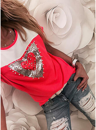 Color Block Heart Sequins Round Neck Short Sleeves T-shirts