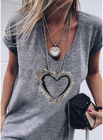 Heart Print Sequins V-Neck Short Sleeves T-shirts