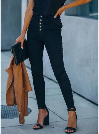 Les poches Grande taille Longue Élégante Sexy Jeans