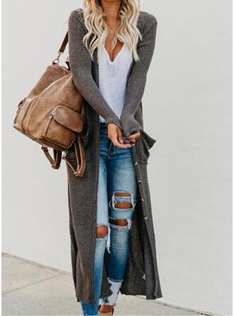 Rayon Long Sleeves Plain Cardigans