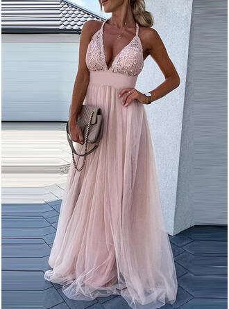 Solid Lace Sleeveless A-line Floor Length Sexy/Party Skater Dresses