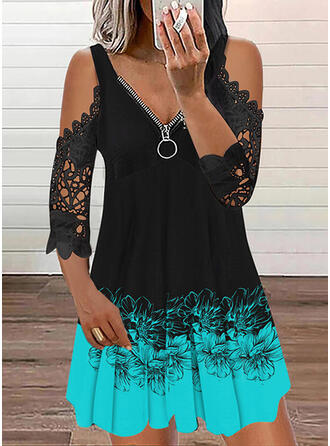 Print Lace 3/4 Sleeves Cold Shoulder Sleeve Shift Above Knee Casual Tunic Dresses