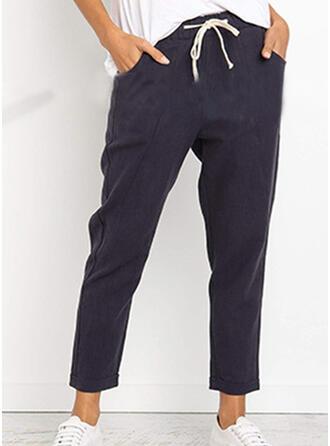 Les poches Froncé midi Décontractée Couleur Unie Pantalon