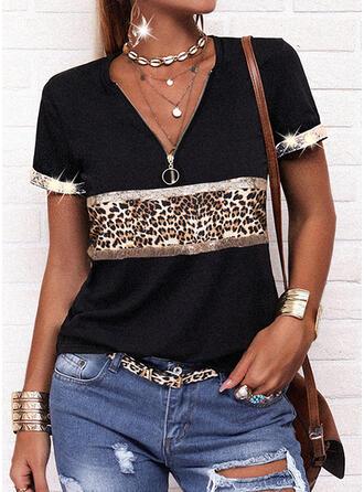 Leopard V-Neck Short Sleeves Casual Blouses