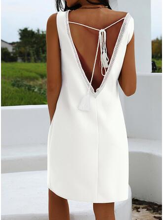 Solid Sleeveless Shift Knee Length Little Black/Casual/Elegant Dresses