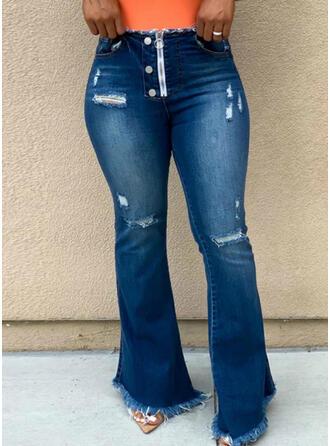 Grande taille Déchiré Tassel Longue Élégante Sexy Jeans