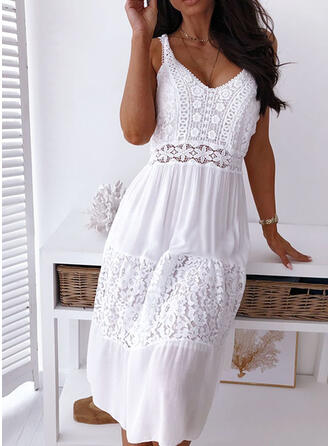 Solid Lace Sleeveless A-line Knee Length Casual/Vacation Skater Dresses
