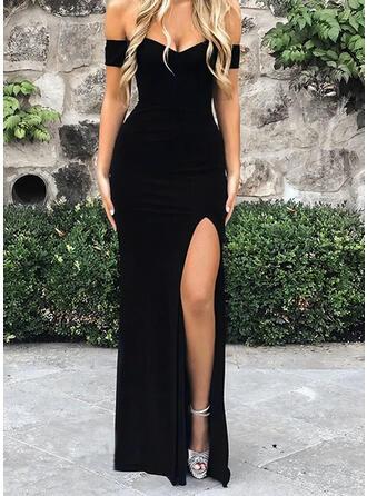 Couleur Unie Manches Courtes Fourreau Petites Robes Noires/Sexy/Fête Maxi Robes