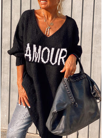 Print/Letter Knit Long Sleeves Dropped Shoulder Shift Above Knee Casual Sweater Dresses