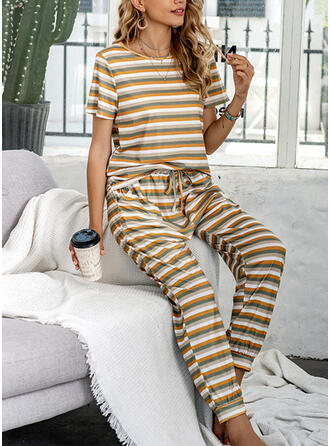 Polyester Striped Col Rond Manches Courtes Ensemble pyjama