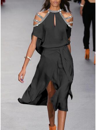 Paillettes/Couleur Unie Manches Courtes Trapèze Patineuse Petites Robes Noires/Fête Midi Robes