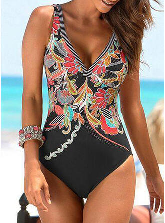 Leaves Print Striped Floral Strap V-Neck Boho One-piece Swimsuits