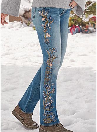 Broderie Froncé Grande taille Longue Élégante Sexy Jeans