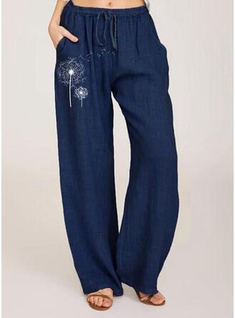 Les poches Froncé Grande taille Longue Boho Décontractée Imprimé Pantalon