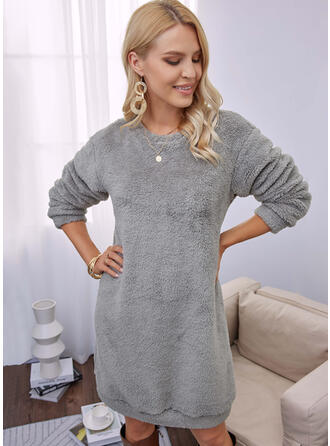 Solid Long Sleeves Dropped Shoulder Shift Above Knee Casual Dresses
