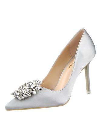 Women's Satin Stiletto Heel Pumps With Rhinestone shoes