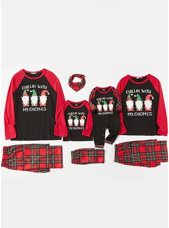 Père Noël Plaid Letter Tenue Familiale Assortie Pyjama De Noël