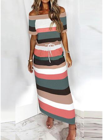 Color Block Short Sleeves Sheath Casual Maxi Dresses