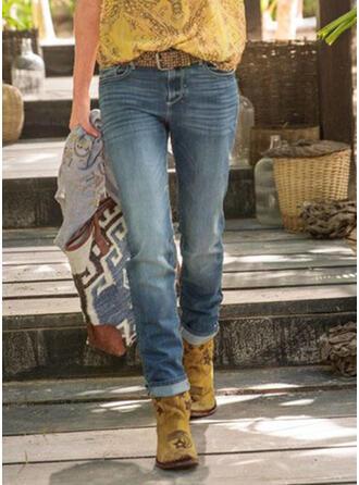 Les poches Froncé Grande taille Longue Décontractée Tribal Jeans