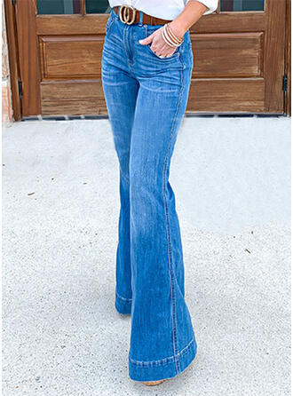 Les poches Froncé Grande taille Longue Élégante Jeans