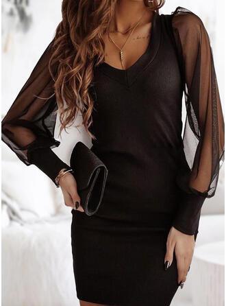 Couleur Unie Manches Longues Moulante Au-dessus Du Genou Petites Robes Noires/Fête/Élégante Robes