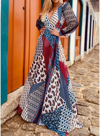 Patchwork Manches Longues Trapèze Patineuse Bohème/Vacances Maxi Robes