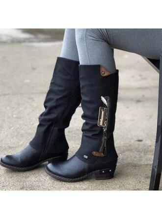 Femmes PU Talon bottier Bottes hautes Martin bottes bout rond avec Boucle Zip Couleur d'épissure chaussures
