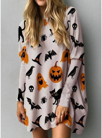 Imprimé Animal Manches Longues Droite Au-dessus Du Genou Décontractée/Fête/l'Halloween Tunique Robes