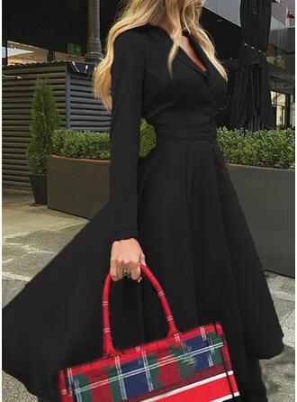 Couleur Unie Manches Longues Trapèze Patineuse Petites Robes Noires/Élégante Midi Robes