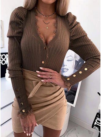 Solid V-Neck Long Sleeves Puff Sleeve Casual Blouses