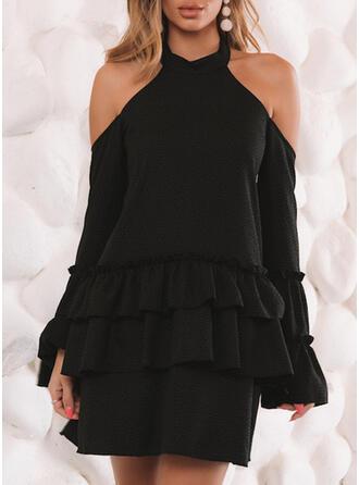 Couleur Unie Manches Longues Fourreau Au-dessus Du Genou Petites Robes Noires/Sexy/Fête Robes